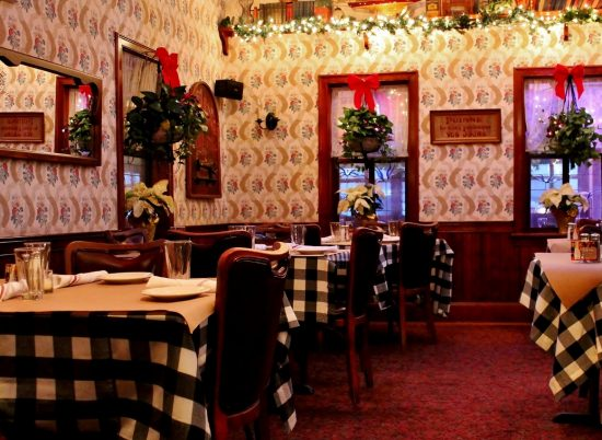 The dining room decorated for the holidays