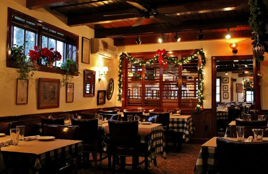 THe lounge decorated for the holidays